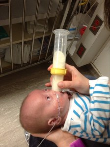 Trying out the Haberman bottle and a different feeding position.