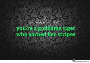 tiger stripes pregnancy quote