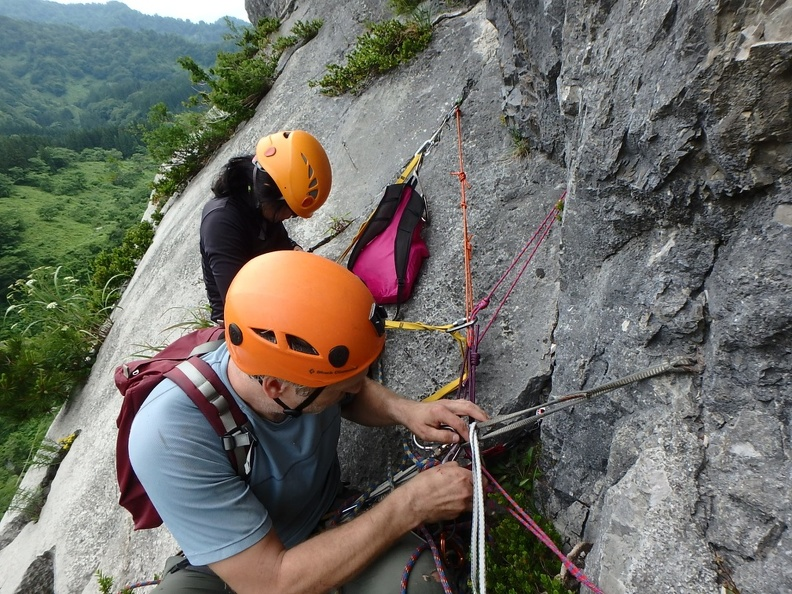 Belay below the last (fifth) pitch. Belay was not good, missed the route?