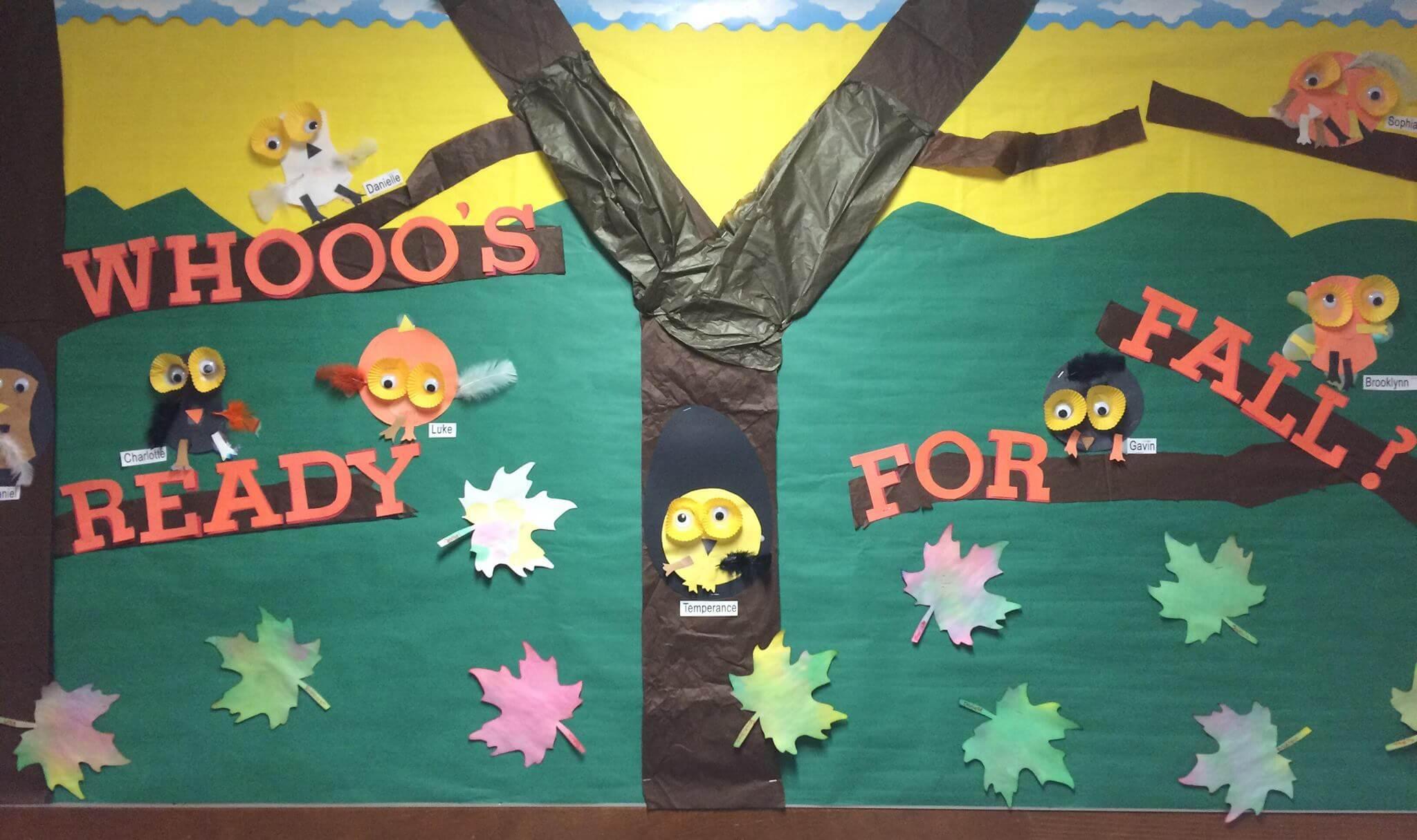 Fall Owl Theme Preschool Bulletin Board Whooos Ready For Fall