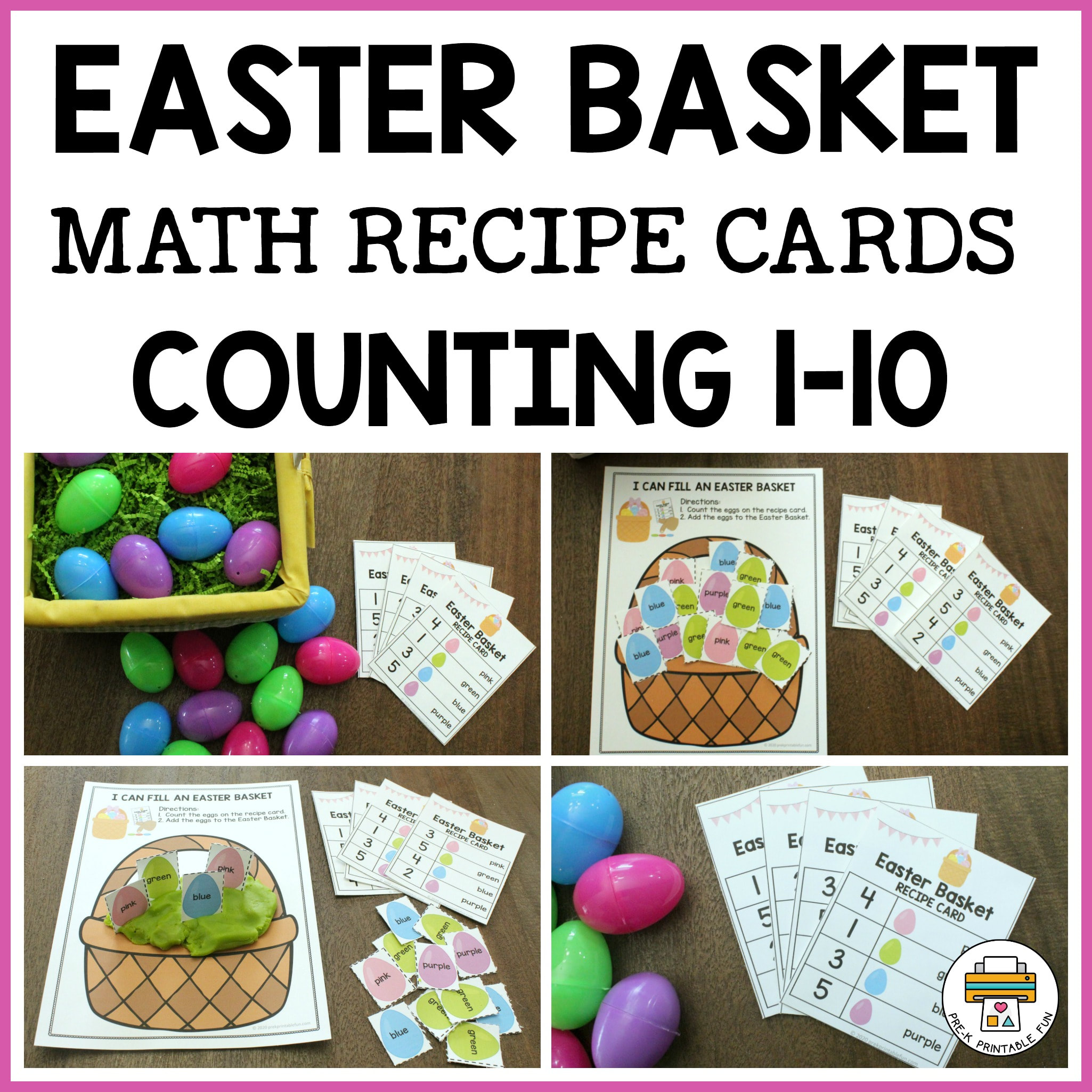 Easter Basket Math Recipe Cards Counting 1 10