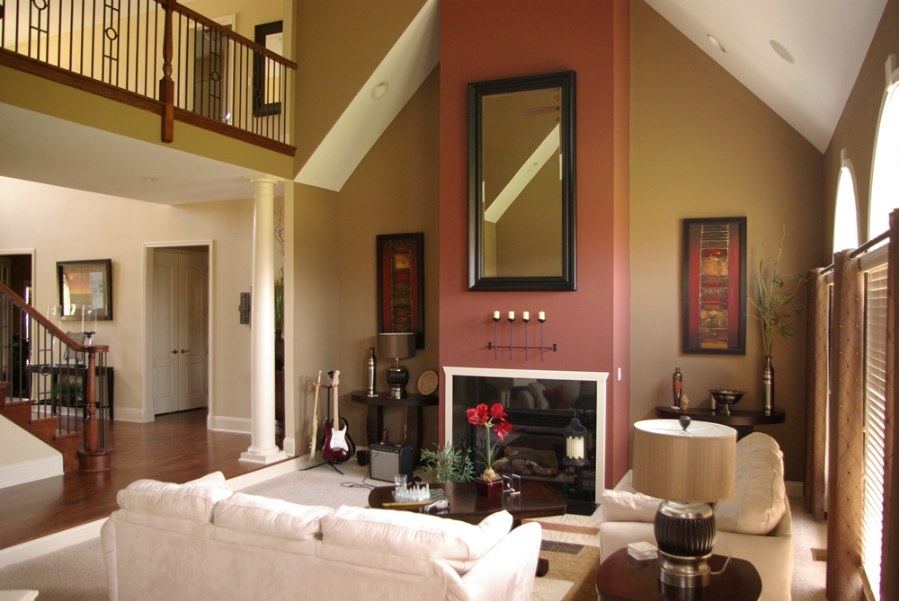 Living Room Fireplace Vaulted Ceiling 09 Premier Painting And Design Inc