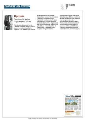 Comisso, Diotallevi miglior opera prima (Corriere del Veneto, 02/06/2019)