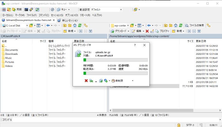 wordpress-winscp-download-progress
