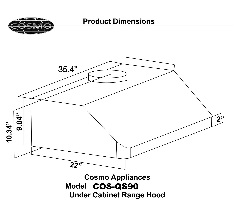 36 In Under Cabinet Range Hood Cosmo Appliances Cos Qs90