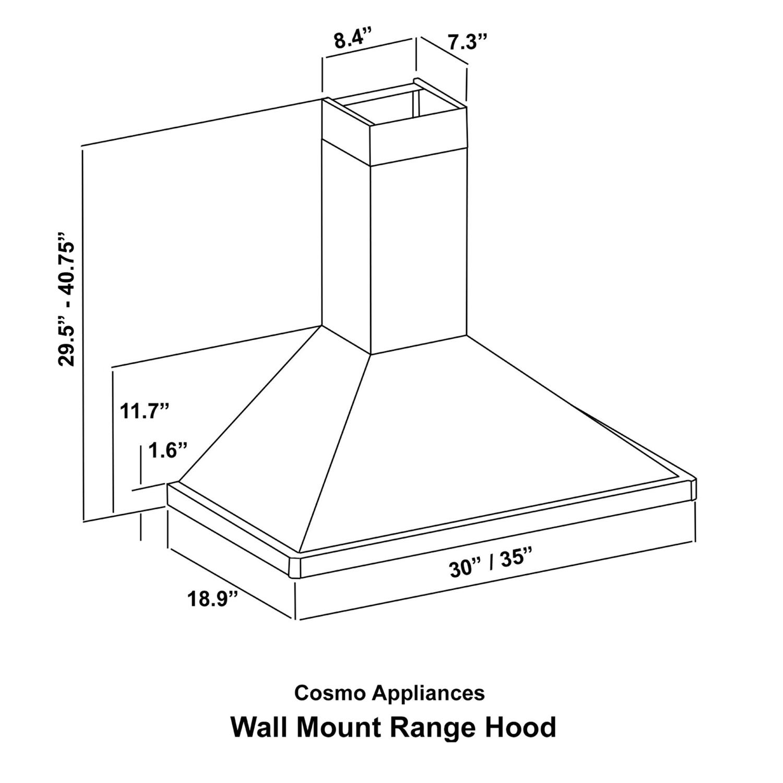 Cosmo Appliances 30 Wall Mount Range Hood Cos Dl