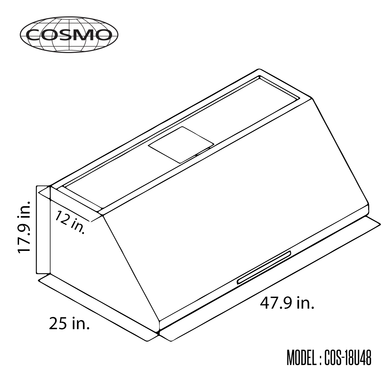 48 In Under Cabinet Range Hood Cosmo Appliances Cos 18u48
