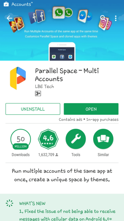 Run Multiple Accounts of Same App on Android Device using Parallel Space3