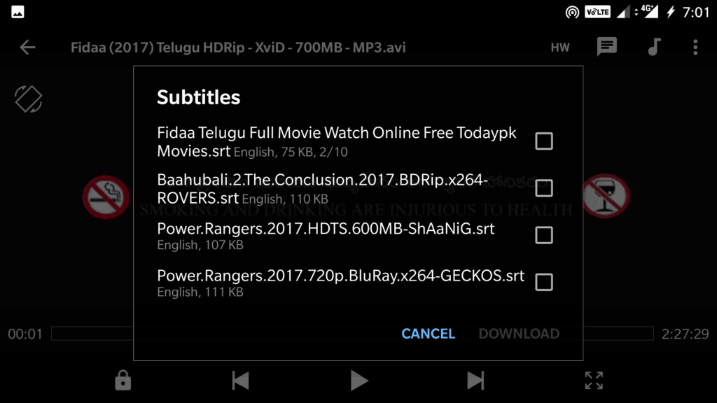 Download Subtitles on MX Player Android Mobiles