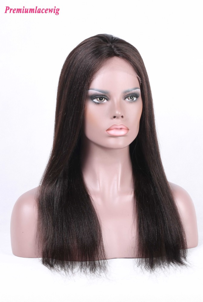 Straight Silk Top Lace Front Wig Brazilian Hair 16inch