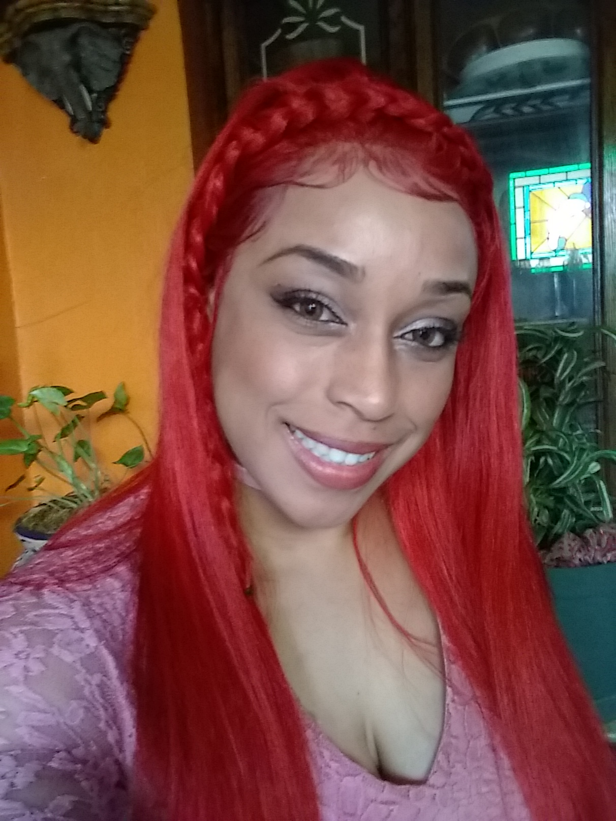 Straight Red Wig Black And