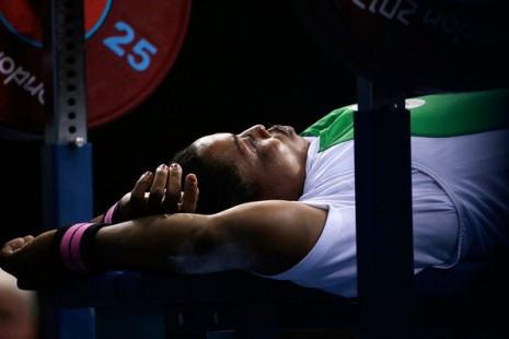 Esther Oyema of Nigeria prepares for a lift in the women's -48 kg Powerlifting on day 3 of the London 2012 Paralympic