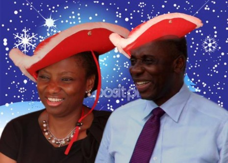 Governor Rotimi Amaechi and his wife, Judith, on Christmas Day.... Photo Credit: Mr. Amaechi's Faceebook page