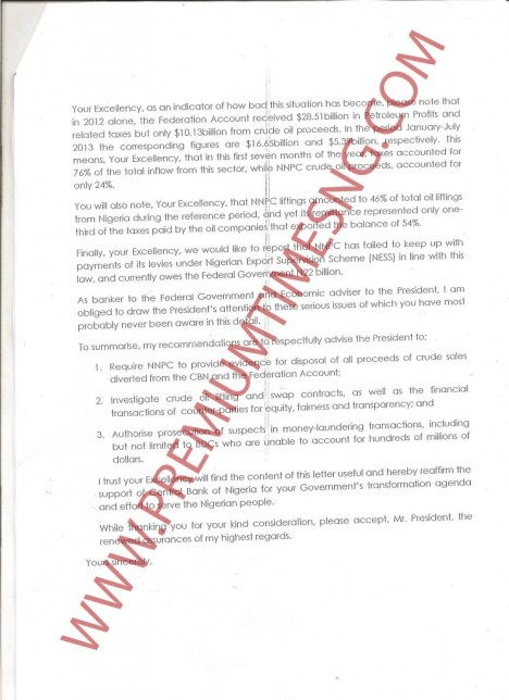 Sanusi's Letter to President Jonathan Page 3