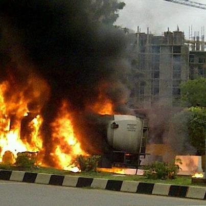 Photo story: Fuel tanker on fire in Maitama, Abuja