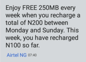 airtel free data 250mb
