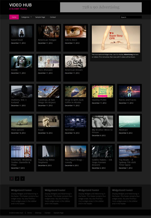 Vídeo Hub Responsive Tema WordPress