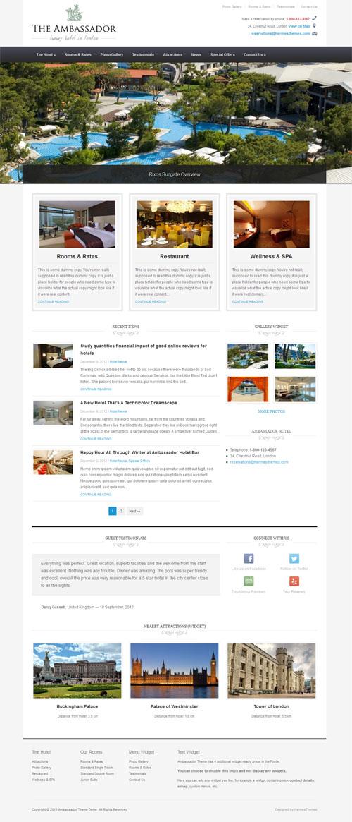 El tema de WordPress de Ambassador Responsive Hotel