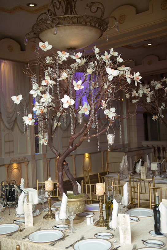 Floating candle centerpieces with crystals