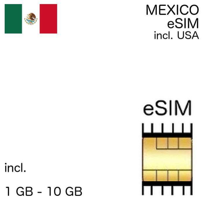 Mexico Esim Incl United States 500 Mb 10 Gb