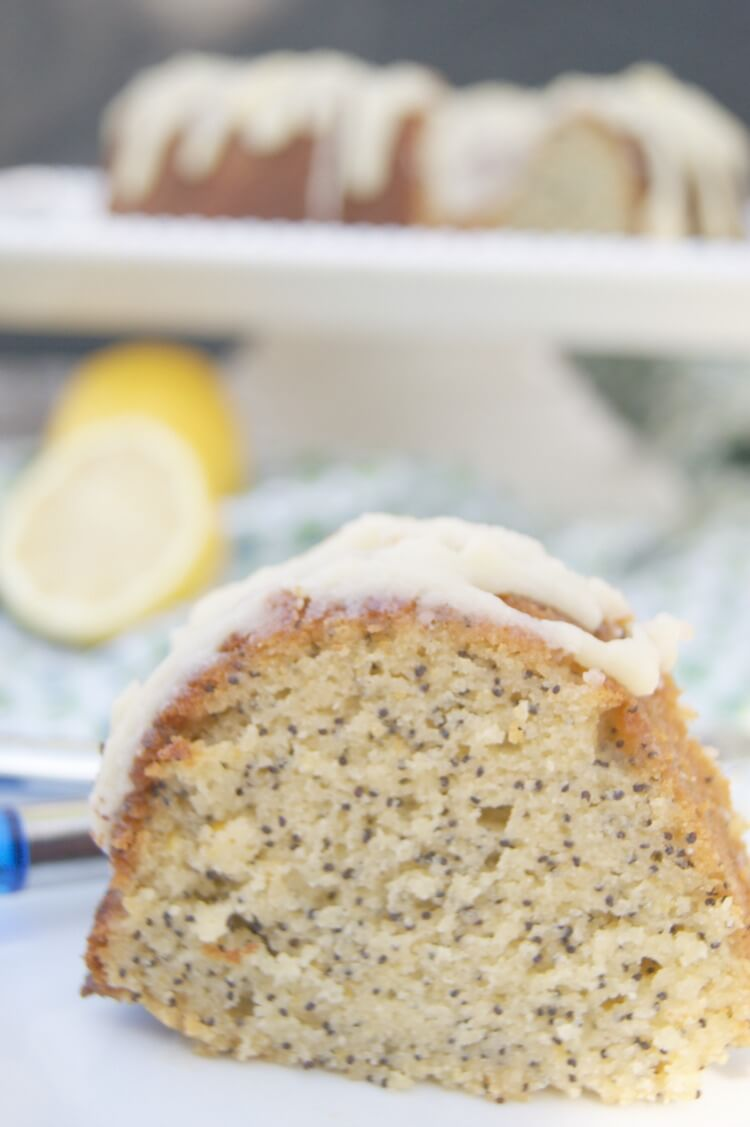 Lemon Poppy Seed Bundt Cake with Lemon Glaze - Grain Free and Paleo friendly. Click to get the easy recipe.
