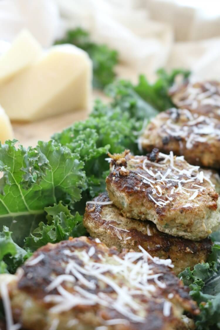 Parmesan and Kale Turkey Meatlets - cross between meatballs and cutlets, these savory morsels will make a great meal, snack or even breakfast!