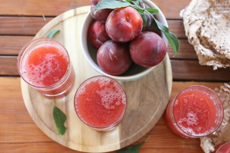 Plum Nectar Drink - made with real food ingredients and lightly sweetened with maple syrup (optional).