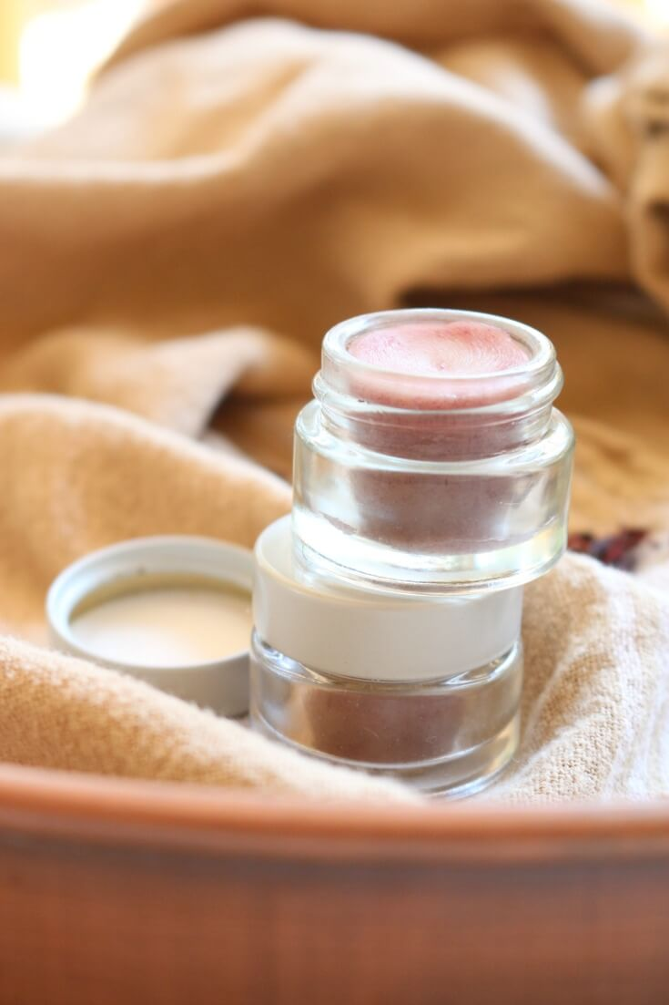 Hibiscus Tinted Lip Balm - DIY lip balm that is subtly tinted with ground hibiscus