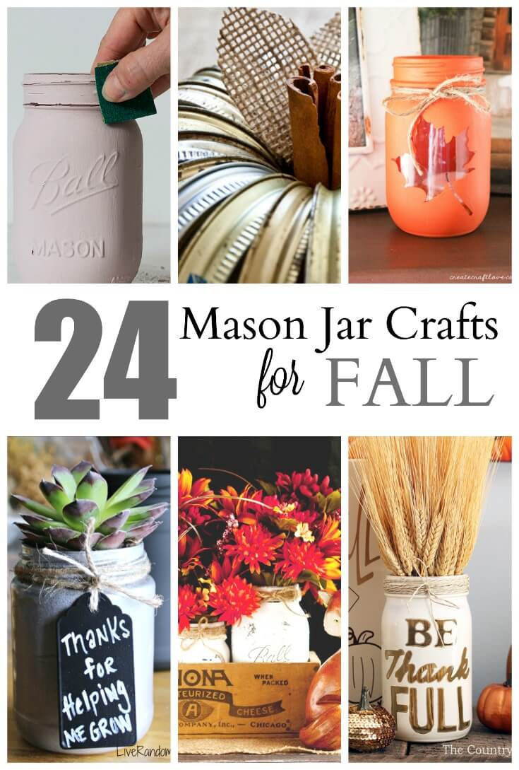 24 Mason Jar Crafts for Fall - use this common kitchen tool for home decor, crafts and gifts.