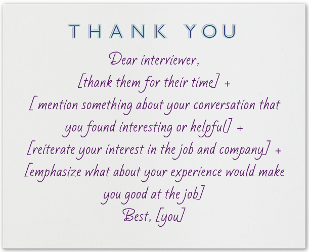 What to write in a thank you note after an interview