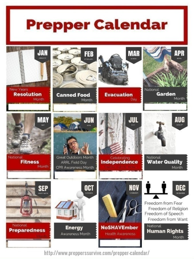 prepper calendar 12 month prepper checklist preppers survive. Black Bedroom Furniture Sets. Home Design Ideas