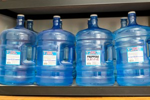 Old Water Storage - Blue 5 Gallon Water Jugs - storage of water images - storage of water pictures