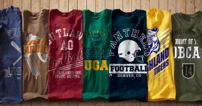 These are some examples of school logo tee-shirts.