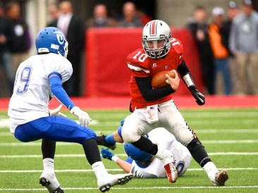 Spanish Fork quarterback Jason Money on the move during the 2012 football state title game. (Photo by Shane Marshall)