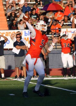 Kahi Neves delivered showed off his big arm Friday night for Timpview. (Photo by Kurt Johnson)