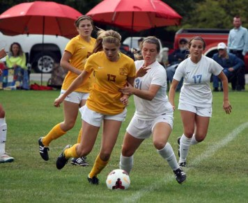 A second-half goal by Megan Rowe provided the margin of victory for Davis. (Photo by Kurt Johnson)
