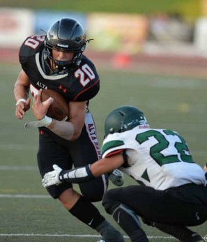 Alta running back Josh Davis is closing in on a 2,000-yard season. (Photo by Clark Larson)