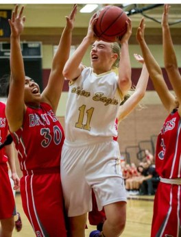 Liz Eaton loves to get down in the paint for Maple Mountain. (Photo by Jeff Porcaro, maplemountainsports.com)