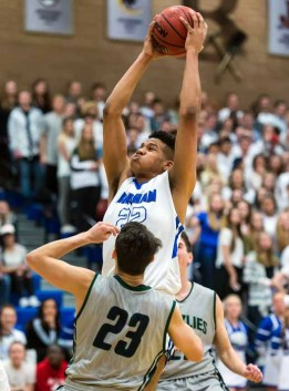 Yoeli Childs is a difficult matchup in the paint for everyone in the state. (Photo by Dave Argyle, dbaphotography.com)