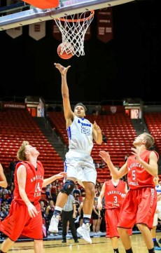 Yoeli Childs sent Bingham to the state final with a double-double plus 6 blocks. (Photo by Kevin McInnis)