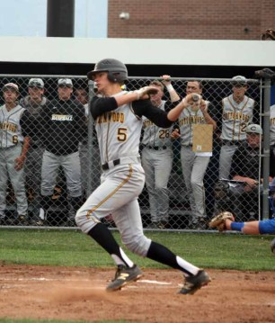 Wil Jensen at the plate during Wednesday's Cottonwood win at Bingham. (Photo by Kurt Johnson)