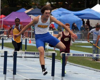 Kody Codner of Orem won the 300-meter hurdles at the 2015 state track meet. (Photo by Kurt Johnson)