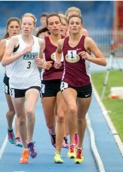 Britney Lund won the 1,600 at the 2015 state track meet. (Photo by Jeff Porcaro, MapleMountainSports.com)