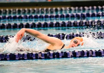 Just a freshman, Brighton's Rachel Butler is already among the state's elite swimmers. (Photo by Kevin McInnis)