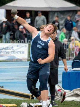 Talin Mortensen's No. 1 event at Salem Hills is the shot put. (Photo by Jeff Porcaro, MapleMountainSports.com)
