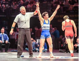 Ben Anderson of Pleasant Grove celebrates his fourth straight state title. (Photo by Kevin McInnis)