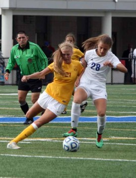 Mikayla Colohan set the tone in the Davis midfield. (Photo by Kurt Johnson)