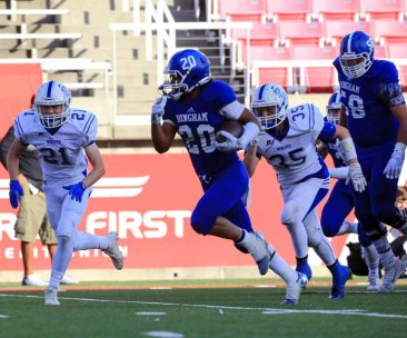 Daniel Loua's play has helped Bingham use it's running back by committee approach to big success. (Photo by Kevin McInnis)