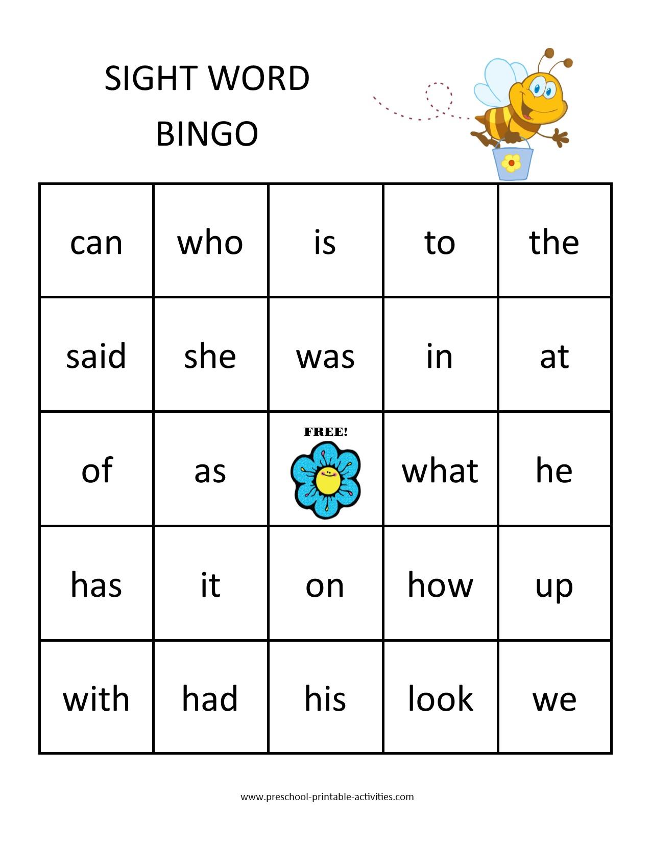 Sight Word Bingo Games