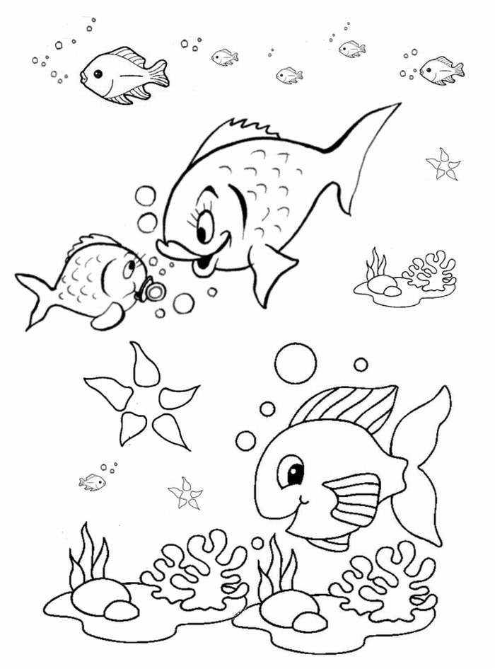 Fish Coloring Pages for Preschool - Preschool and Kindergarten | free printable coloring pages for kindergarten